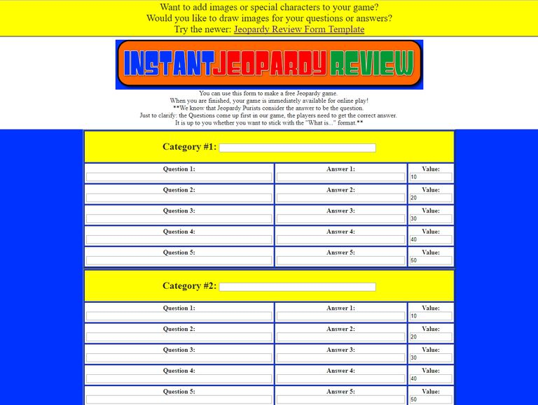 Free Jeopardy Templates For The Classroom