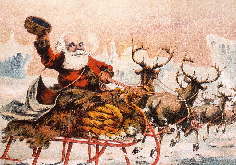 Santa and reindeer illustration