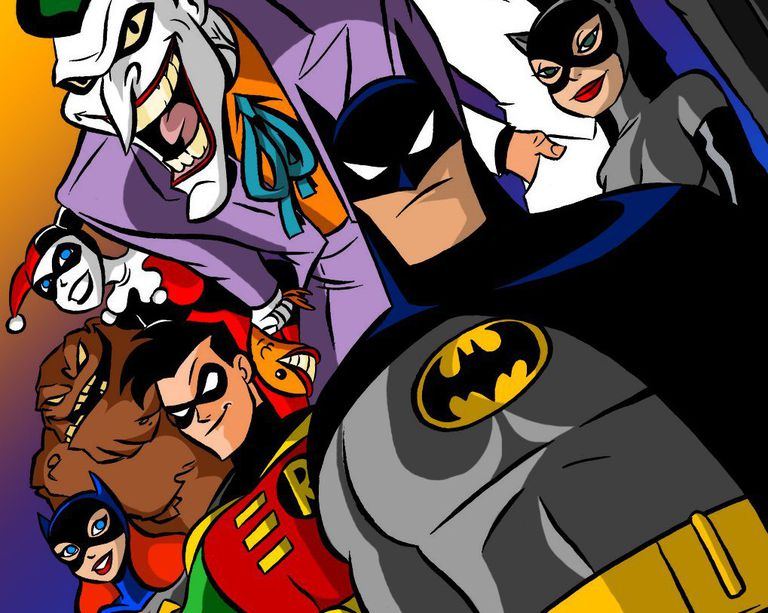 A group of animated Batman characters.