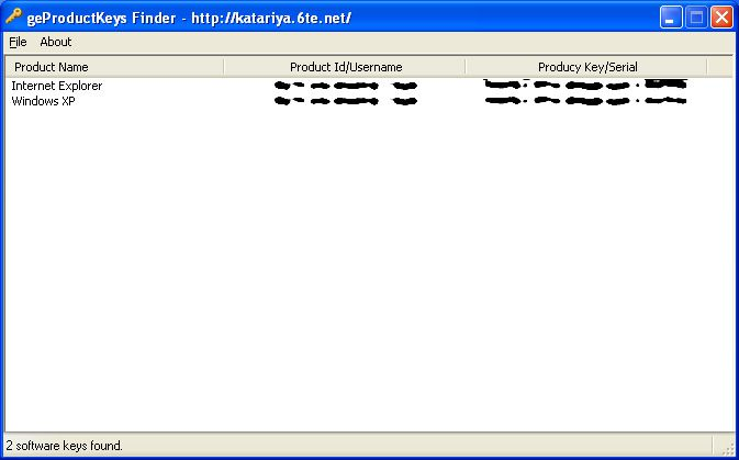 Screenshot of geProductKeys Finder v1.0 in Windows XP