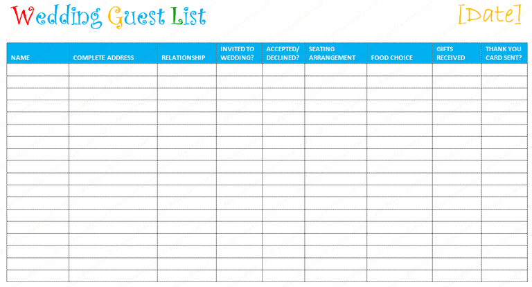 7 Free Wedding Guest List Templates and Managers – Attendees List Template