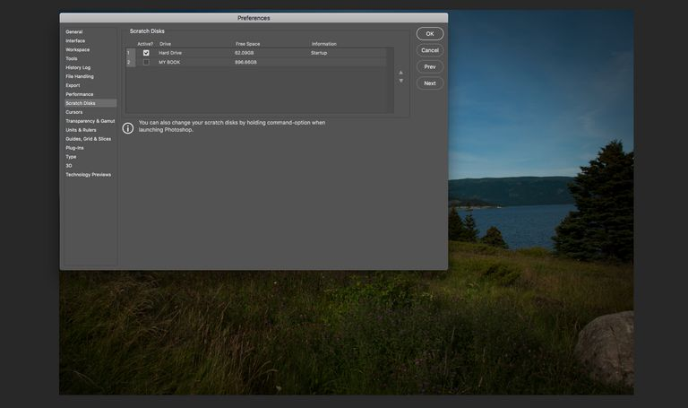 The Photoshop Scratch Disk preference is shown.