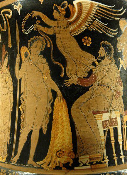 Jason brings Pelias the Golden Fleece. Apulian red-figure calyx crater, 340 BC–330 B.C.