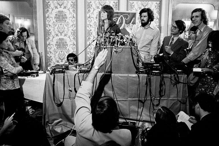 Jane Fonda at press conference on returning from North Vietnam