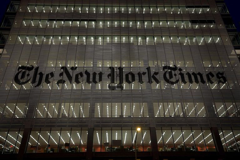 A photo of the exterior of the New York Times building