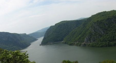 Danube separating Carpathian and Balkan mountains in the Lower Gorge. View from the Serbian side