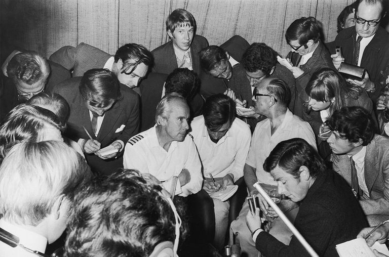 Captain Cyril Goulborn, the pilot of a BOAC VC-10 airliner hijacked by Palestinian terrorists, is interviewed by journalists upon his arrival back at Heathrow Airport.