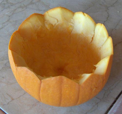 Fluted Pumpkin Bowl Carved From a Pumpkin Shell