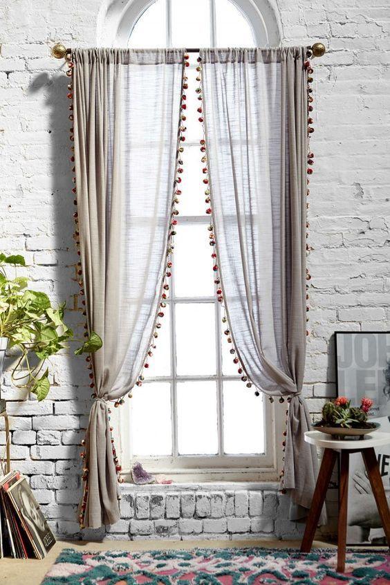 pom poms on curtains