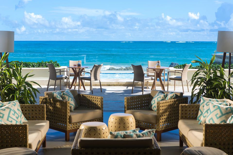 View of the ocean from the patio of the Condado Vanderbilt in San Juan, Puerto Rico.