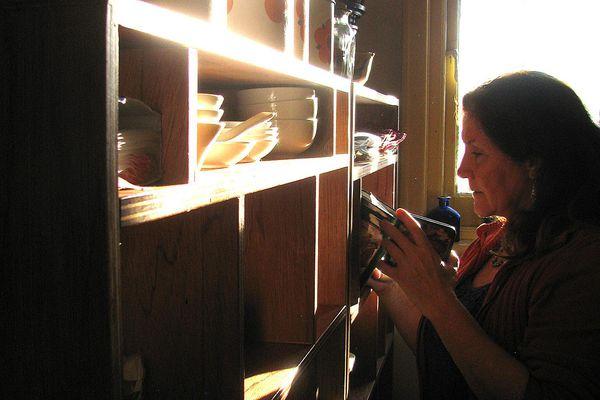 woman organizing sheving