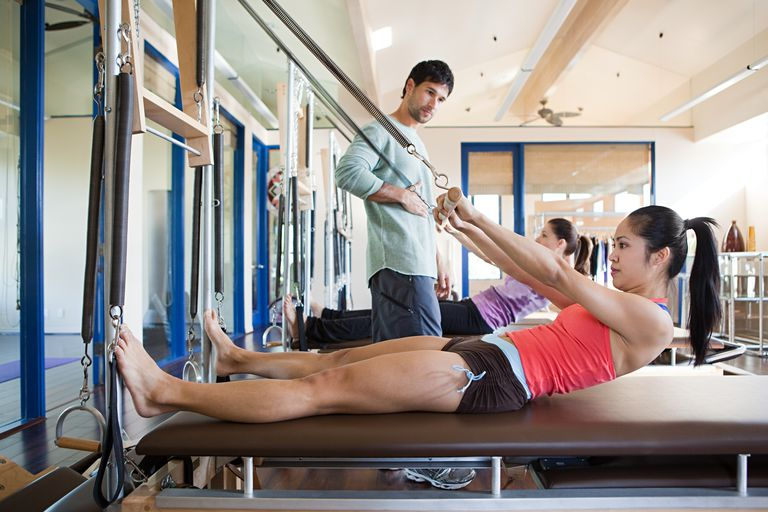 Two women with pilates instructor