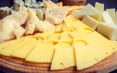 Foods forbidden on the paleolithic or paleo diet plate of different sliced and cubed cheeses malvernweather Choice Image