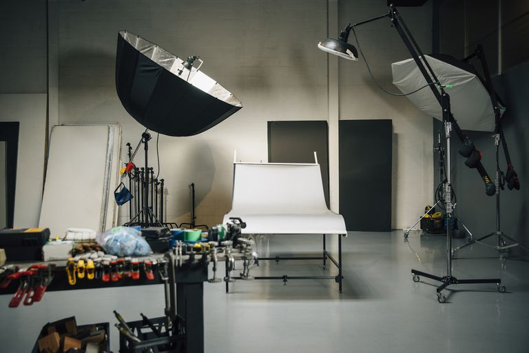 Empty set in photography studio