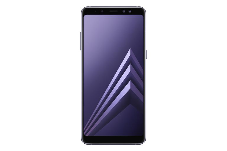 Samsung Galaxy S8 smartphone, front view, in orchid grey color