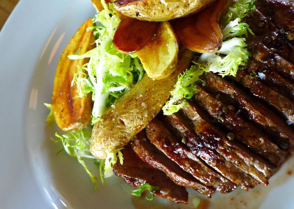 Sliced steak at Rye in Louisville.