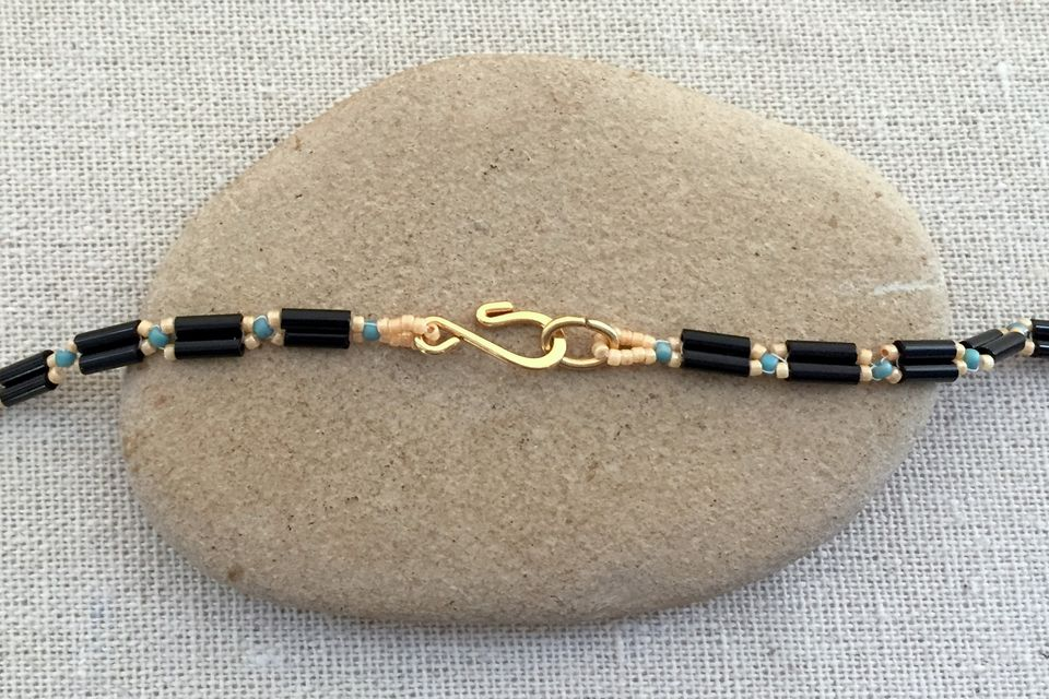 Adding clasp to bugle bead chain necklace