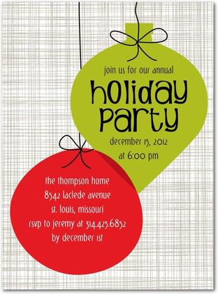Holiday Party Invite with Ornaments