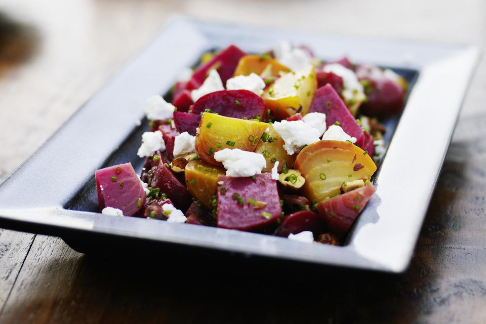 Organic beet salad with hazelnuts and goat cheese