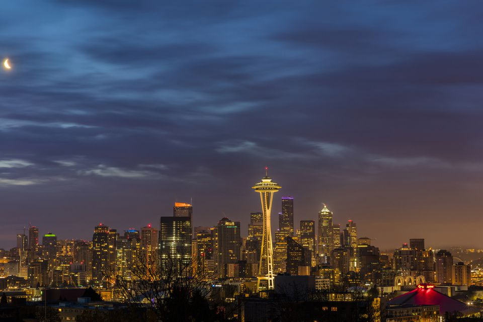 Cityscape with Space Needle from Kerry Park in downtown Seattle, Washington State