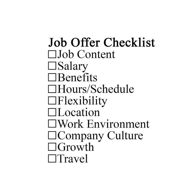 job offer checklist