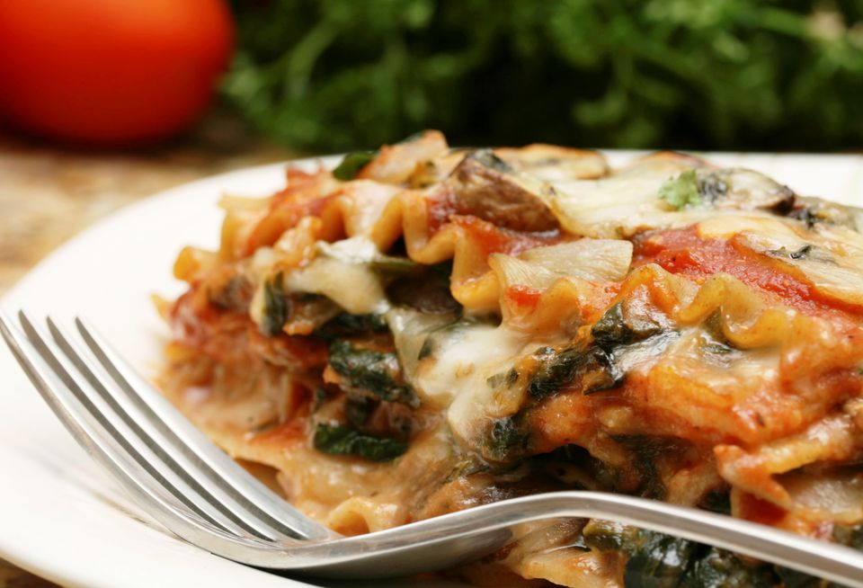 Vegetarian vegetable lasagna with spinach and whole wheat noodles