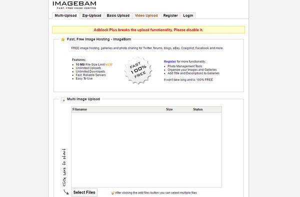 The Imagebam homepage