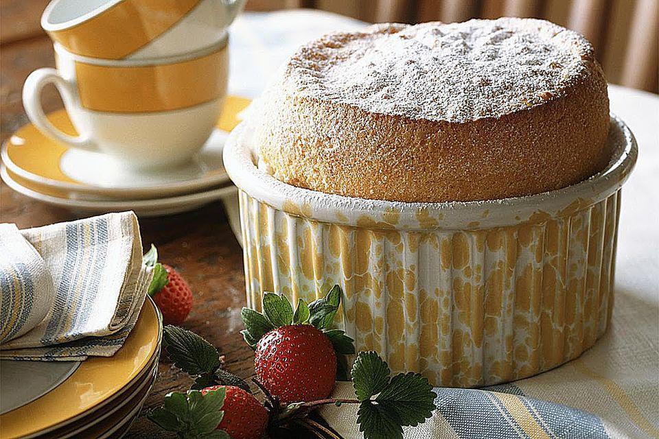 Vanilla souffle with Alpine strawberries