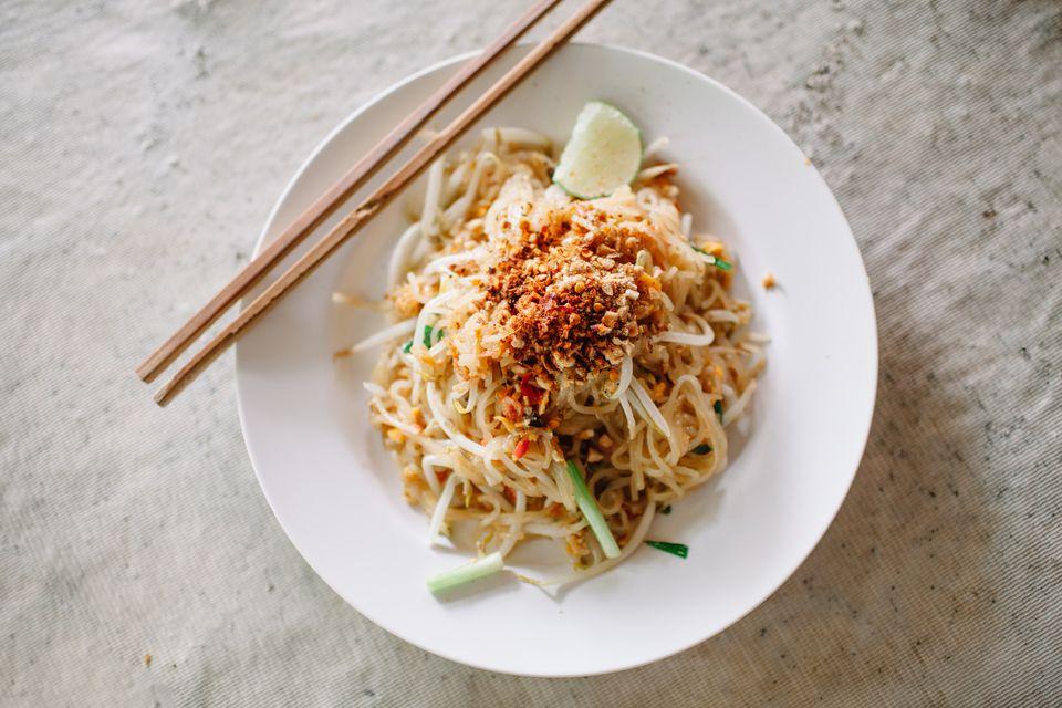Pad Thai, famous rice noodle dish