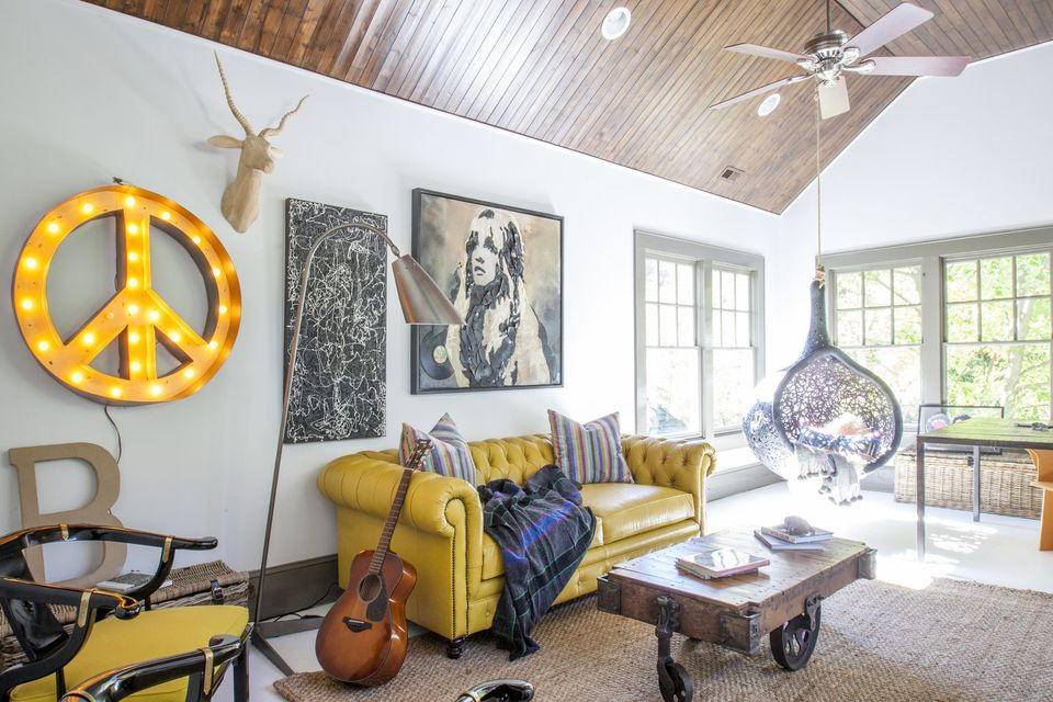 hippie home with pops of yellow