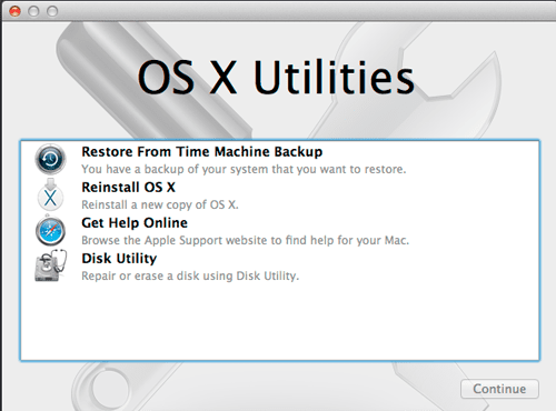 Starting Up From the OS X Recovery HD Volume