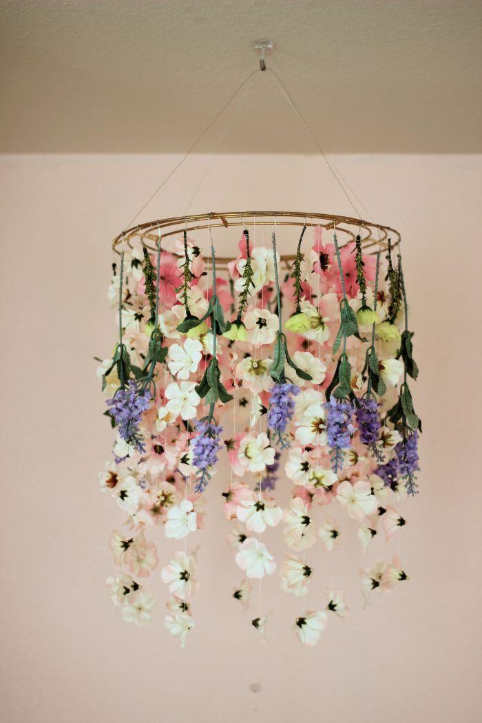 fake flower chandelier