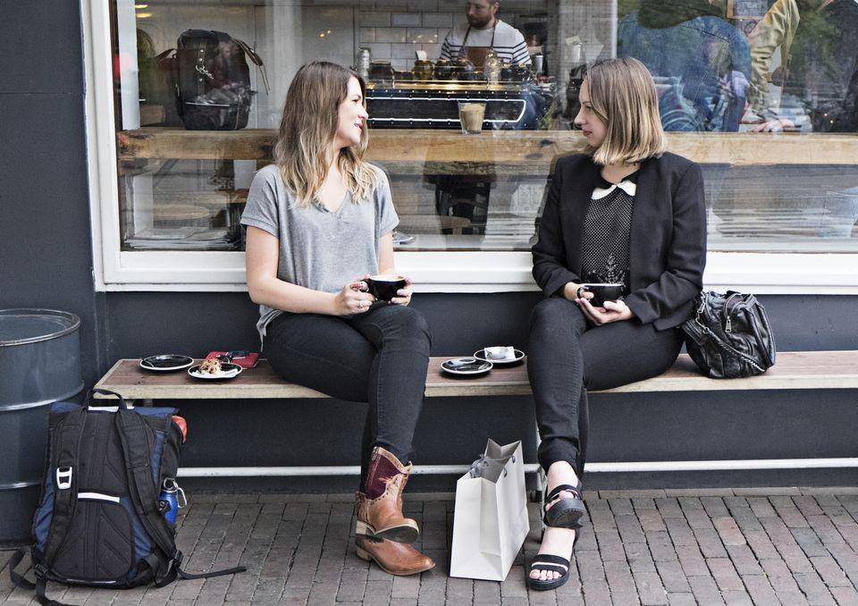 Two women having a coffee