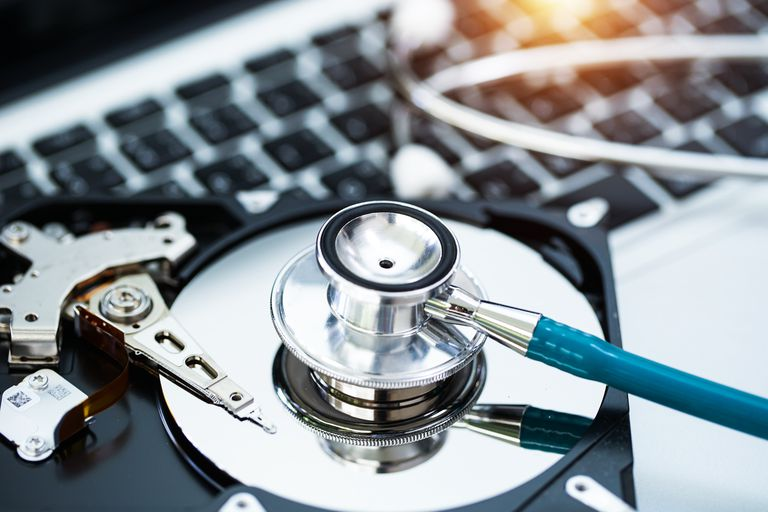 A screen shot of a hard drive with a stethoscope on it.