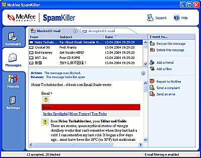 McAfee SpamKiller - Spam Filter