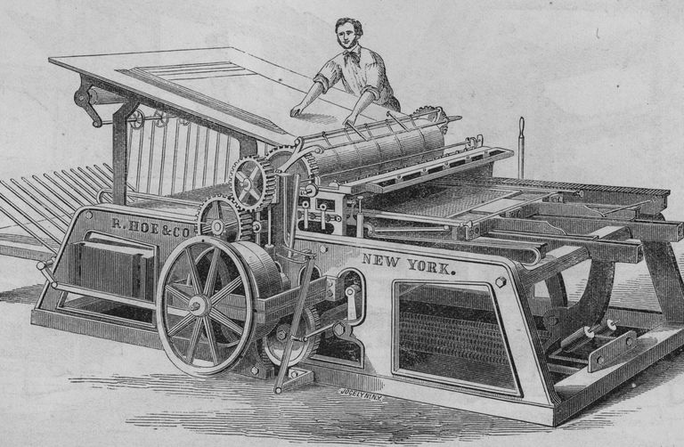Illustration of a Hoe printing press of the mid-1800s.