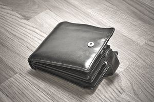 Wallet on a wooden floor