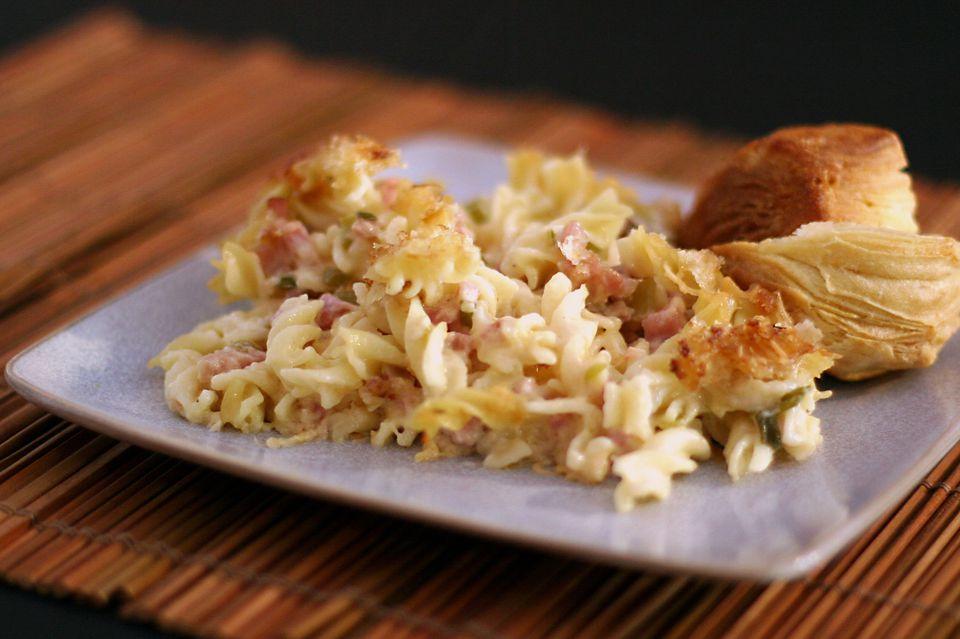Ham, Swiss, and Fusilli Casserole