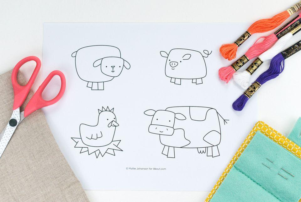 Funky Farm Friends Embroidery Pattern