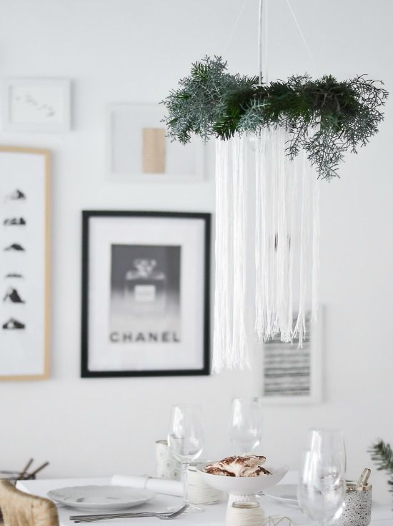DIY Winter Chandelier