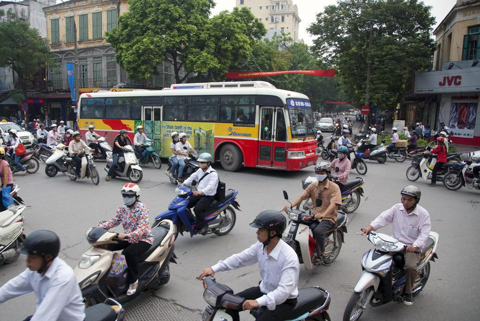 City traffic at rush hour, Hanoi