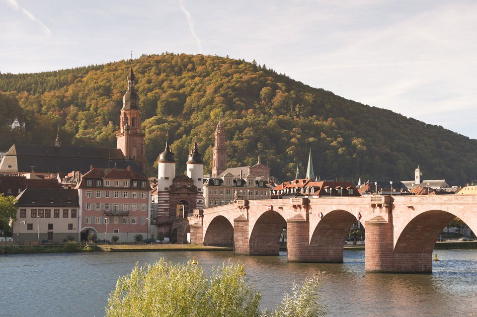 The Alte Brucke (Old Bridge) in Old Town, Heidelberg, Baden-Wurttemberg, Germany, Europe