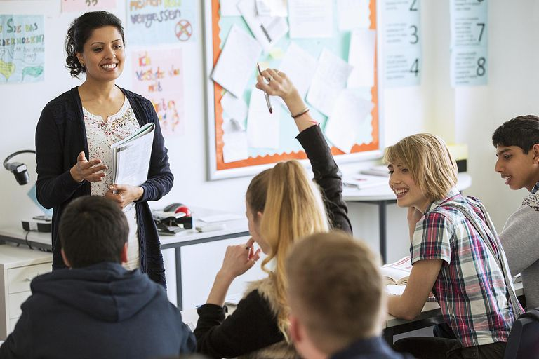 Teenage students learning in a classroom