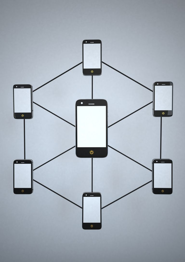 Smartphone Network against grey background