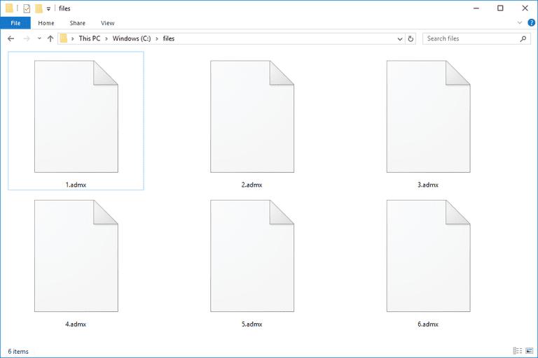 Screenshot of several ADMX files in Windows 10