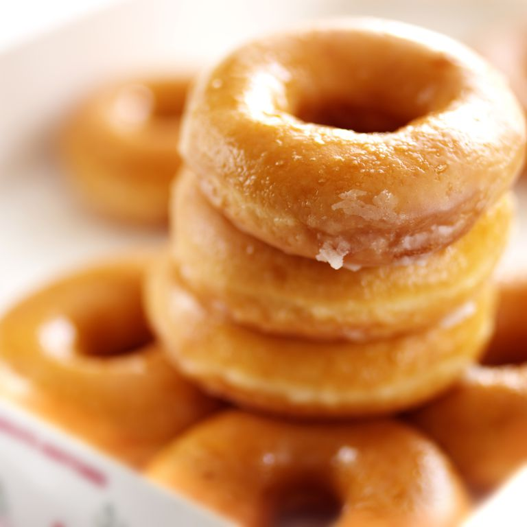 Up-close picture of a stack of donuts