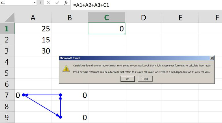 Circular References in Excel Formulas