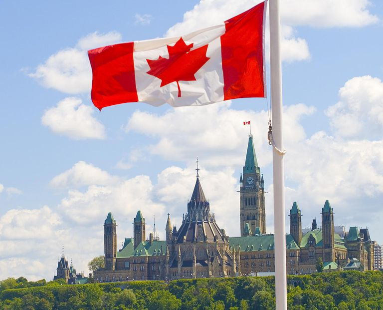 Parliament Canadian flag in Gatineau, Queb...