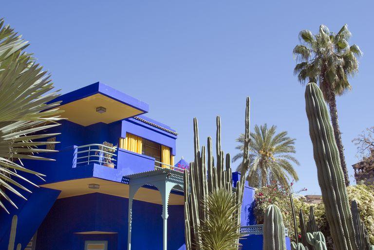 Colorful marine blue Moroccan house n Marrakesh
