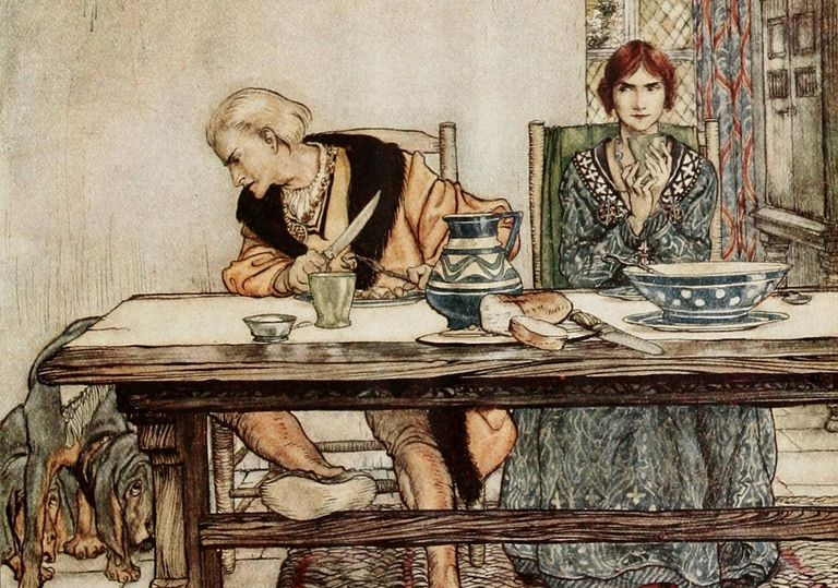 """""""Lord Randal"""", by Arthur Rackham. This is an illustration from Some British ballads, published in about 1919."""